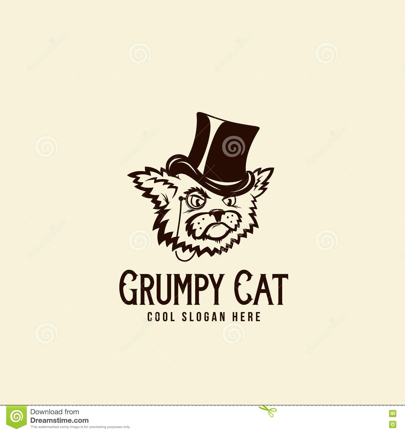 grumpy rich cat in a cylinder abstract vintage vector sign symbol