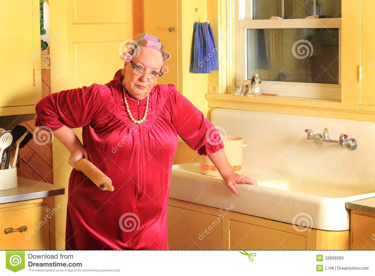 Castle Home Plans Grumpy Senior Granny With Rolling Pen Royalty Free Stock