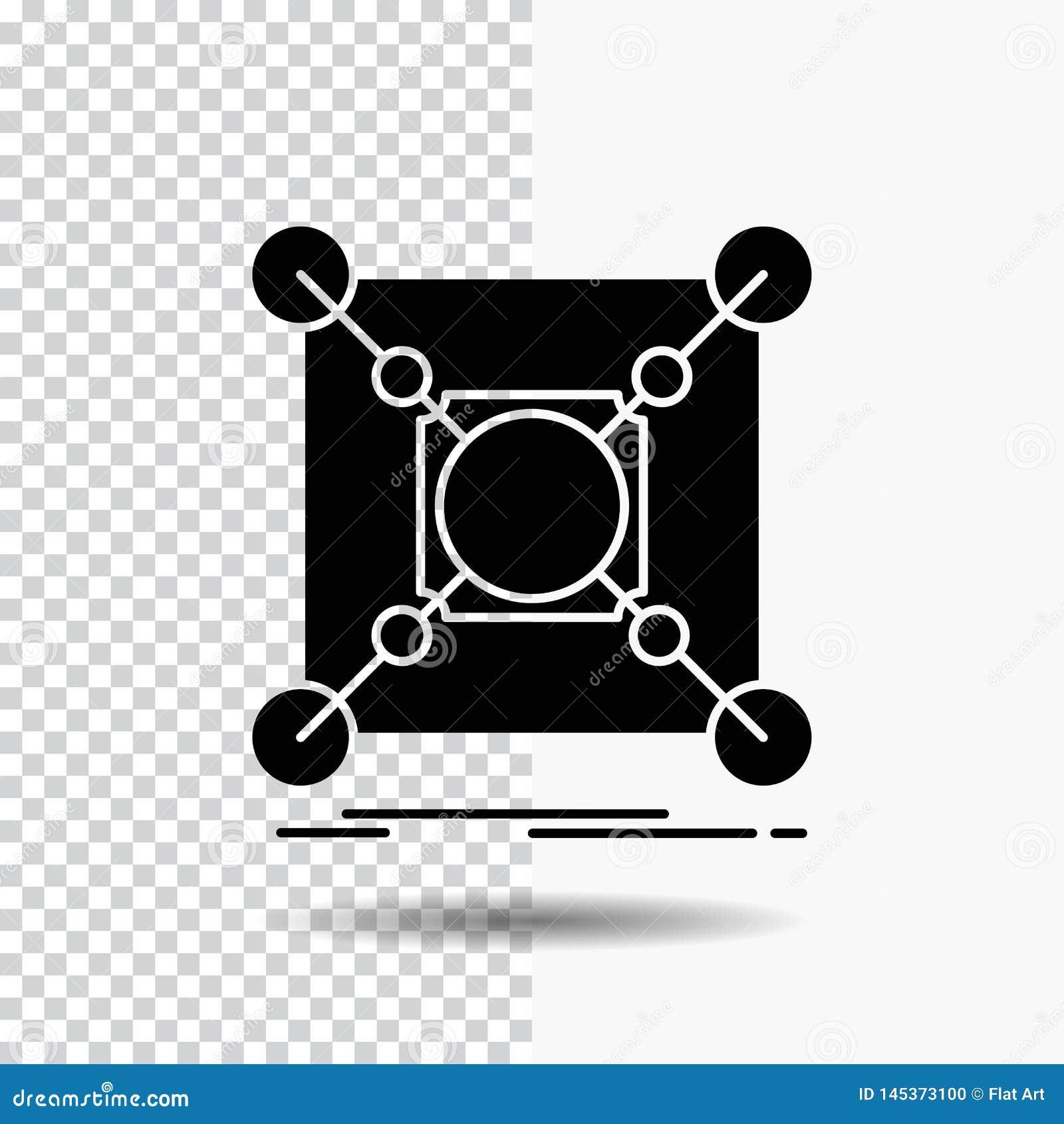 Grund mitt, anslutning, data, navskårasymbol på genomskinlig bakgrund Svart symbol