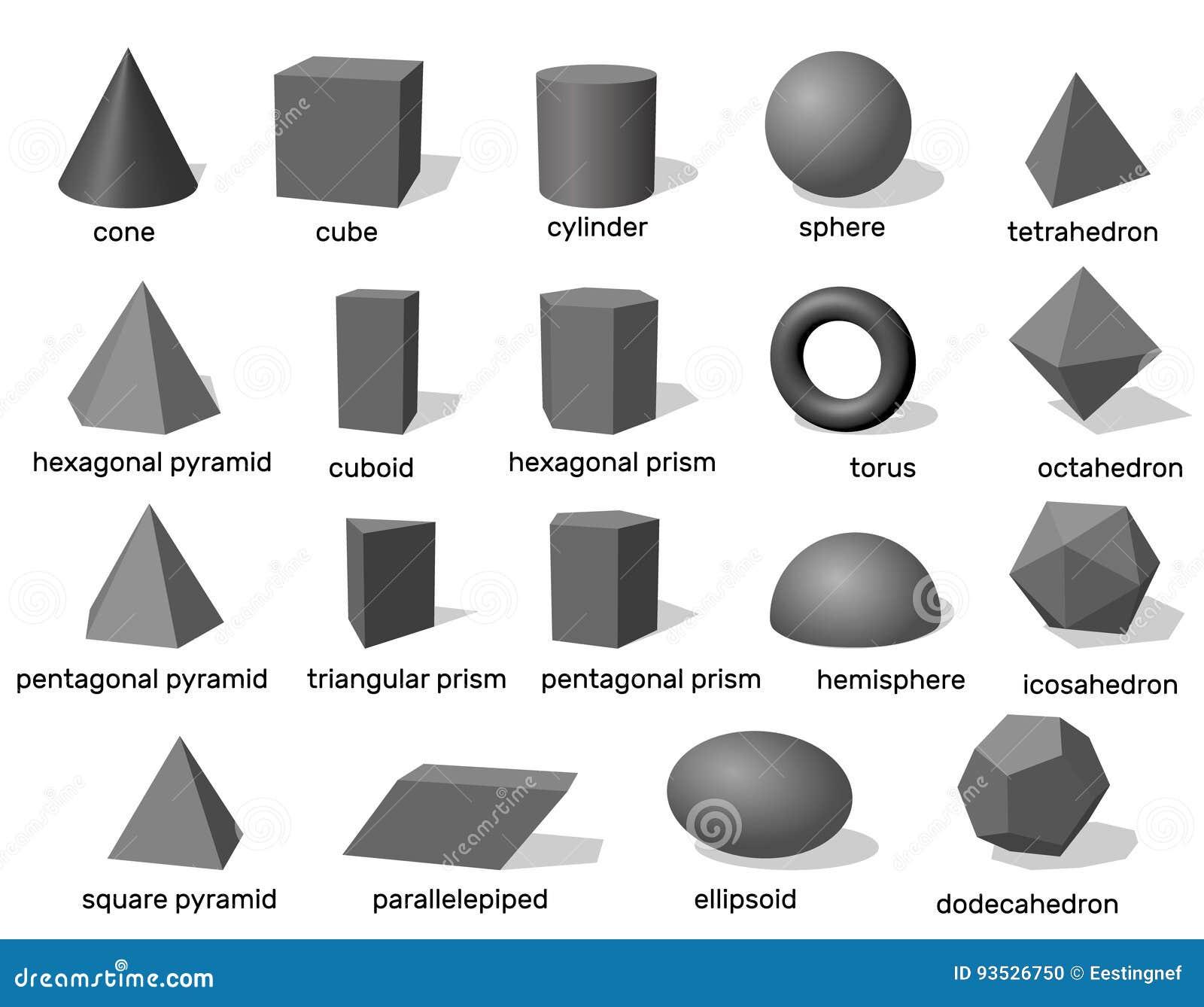 grundlegende geometrische formen 3d getrennt auf wei em. Black Bedroom Furniture Sets. Home Design Ideas