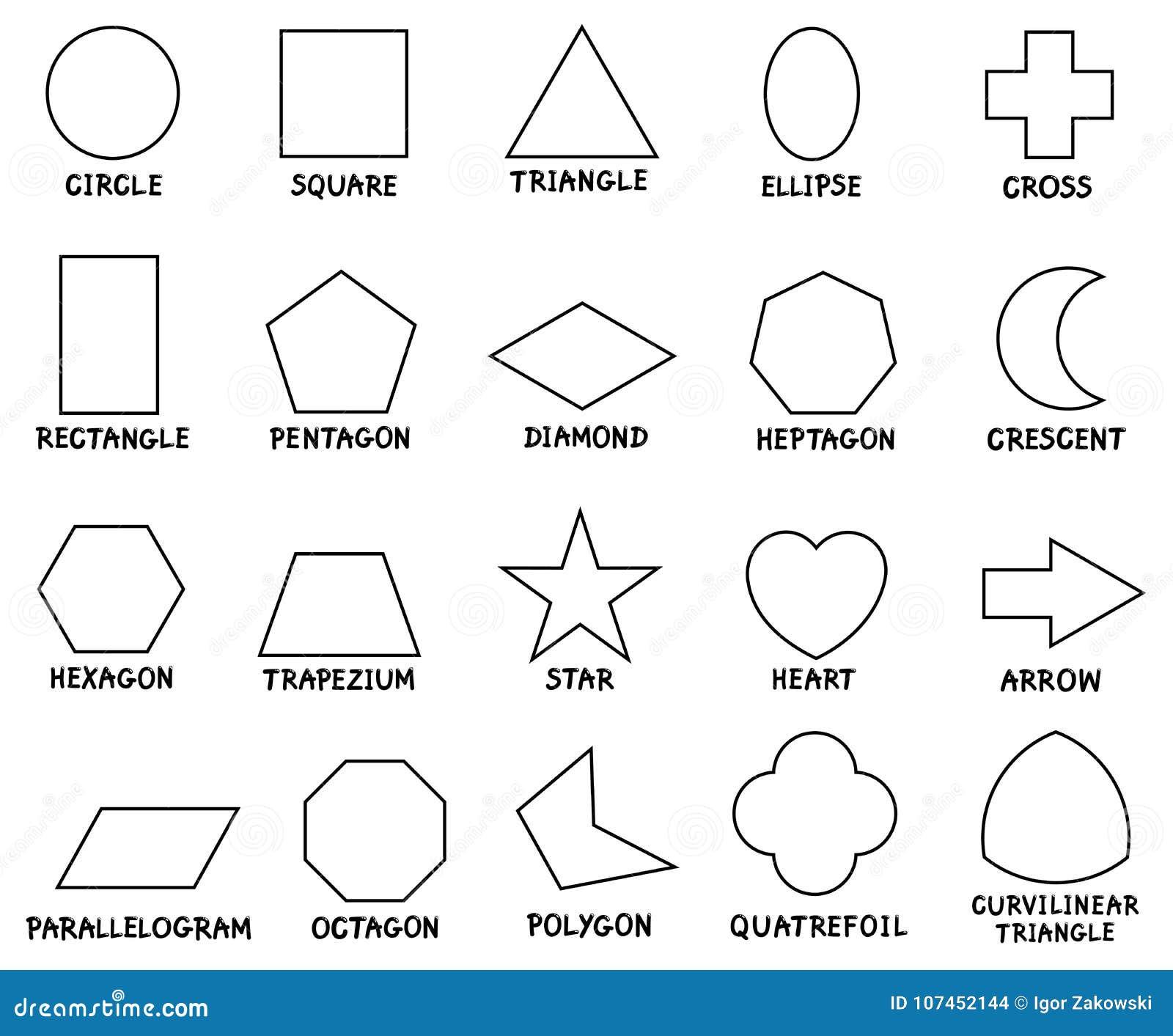 Grundlegende Geometrische Formen Der Bildung Mit Titeln Vektor Abbildung Illustration Von Viereck Ausbildung 107452144
