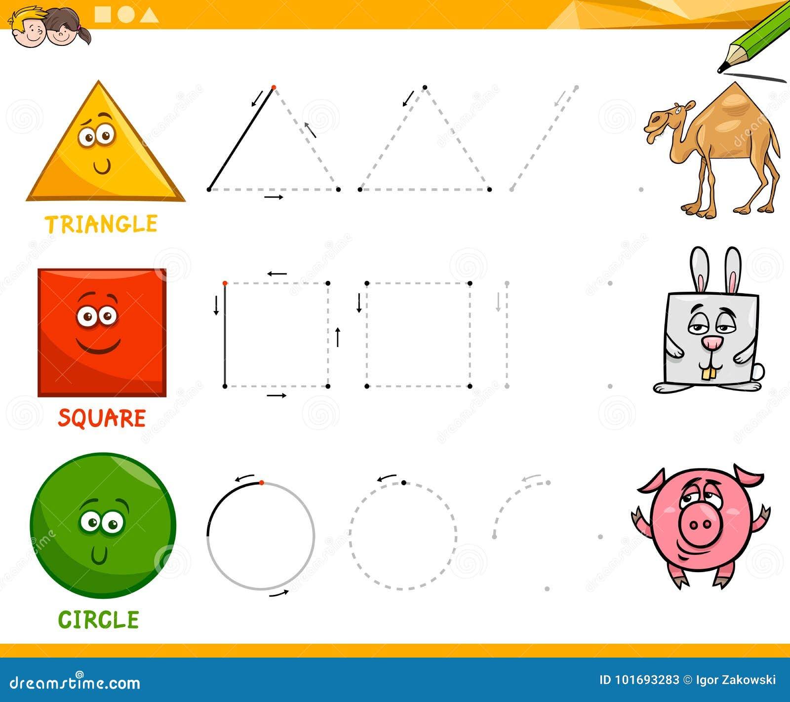 grundlegende geometrische formen die arbeitsblatt zeichnen vektor abbildung illustration von. Black Bedroom Furniture Sets. Home Design Ideas