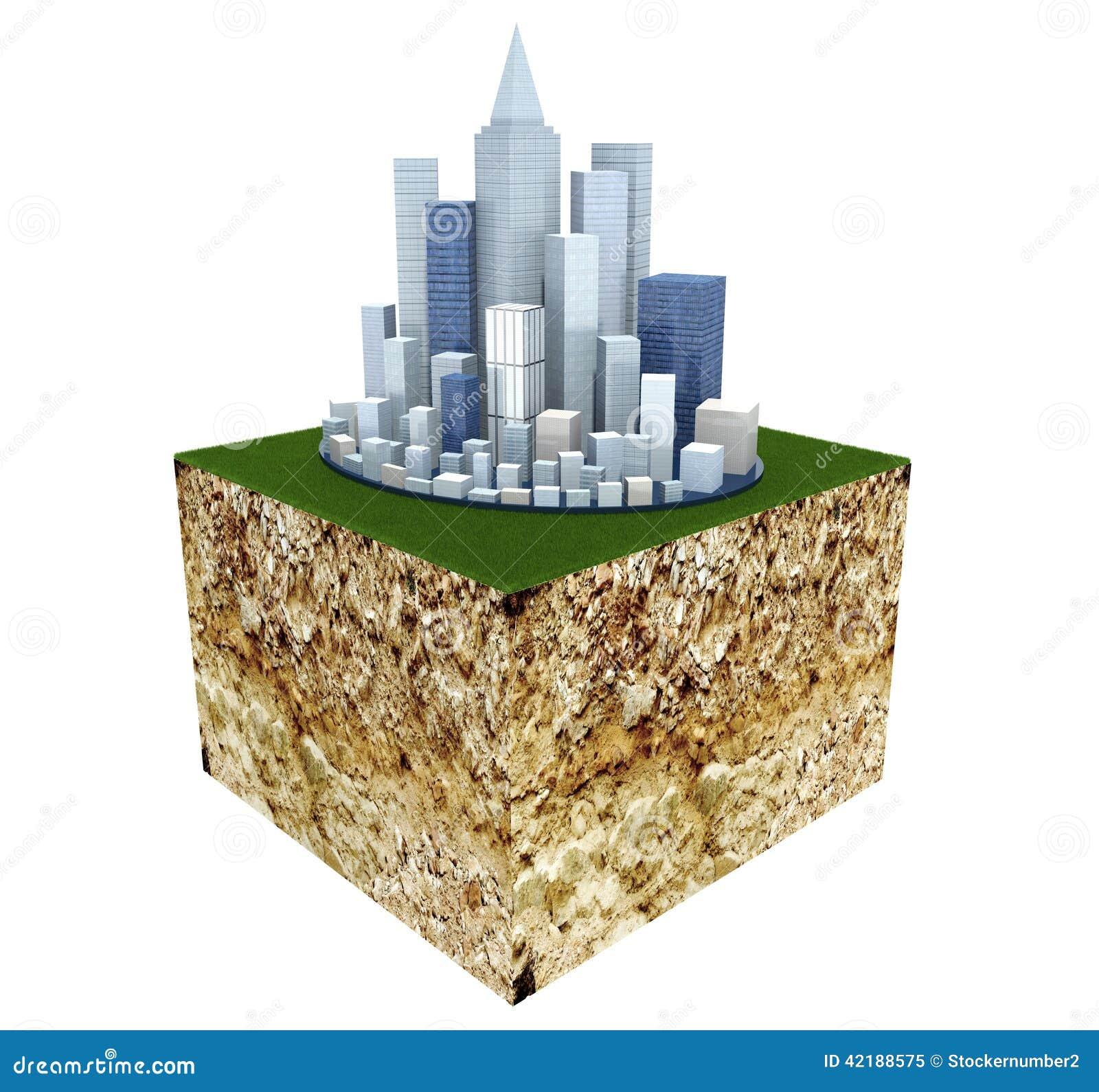 Grundquerschnitt mit moderner Geschäfts-Stadt