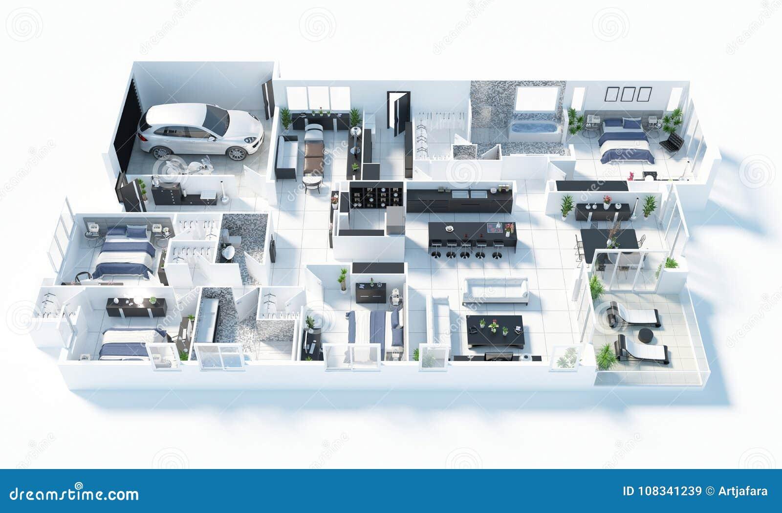 Grundriss Einer Illustration Der Draufsicht 3D Des Hauses Öffnen Sie ...