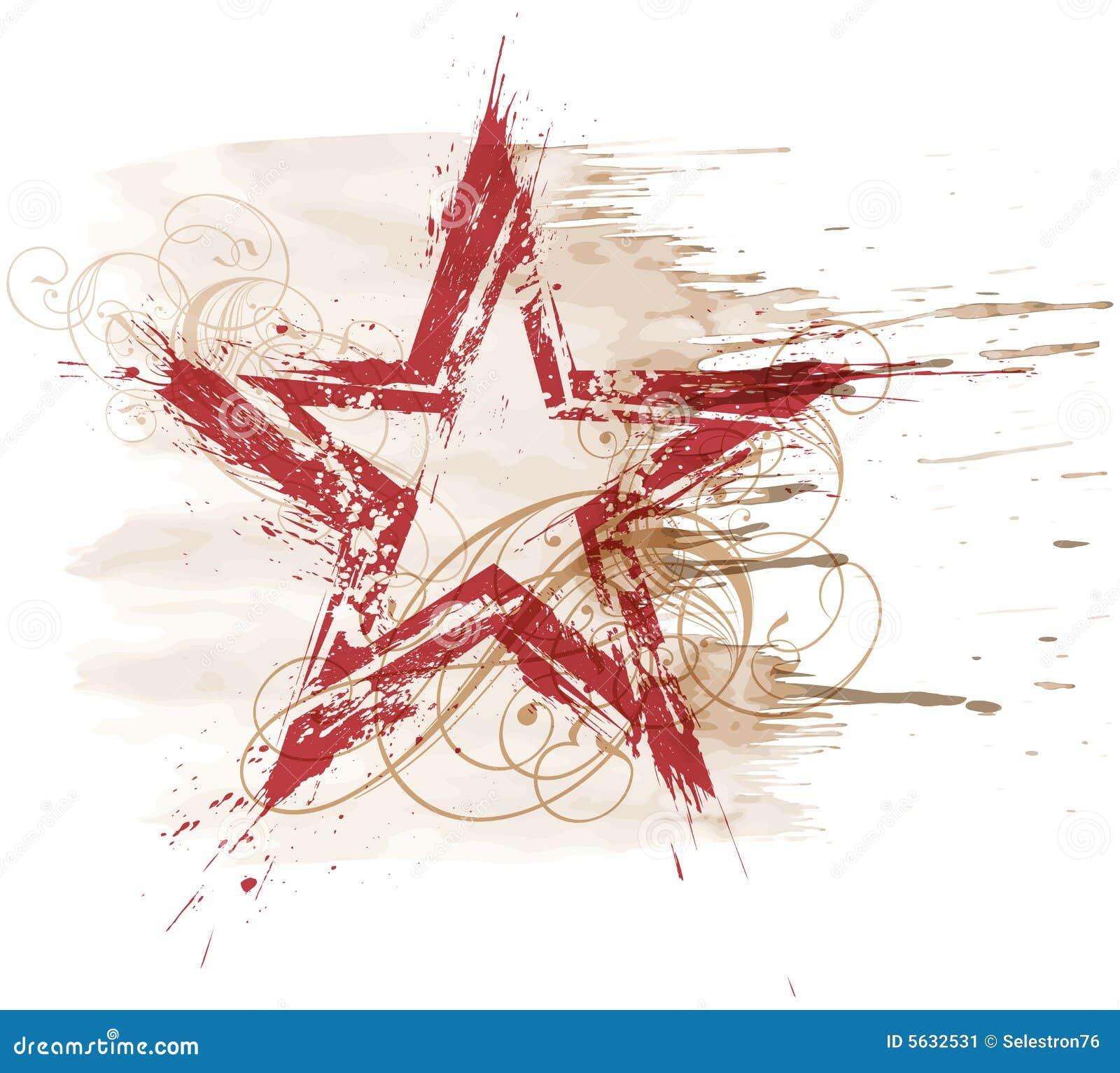 Grunge星形水彩