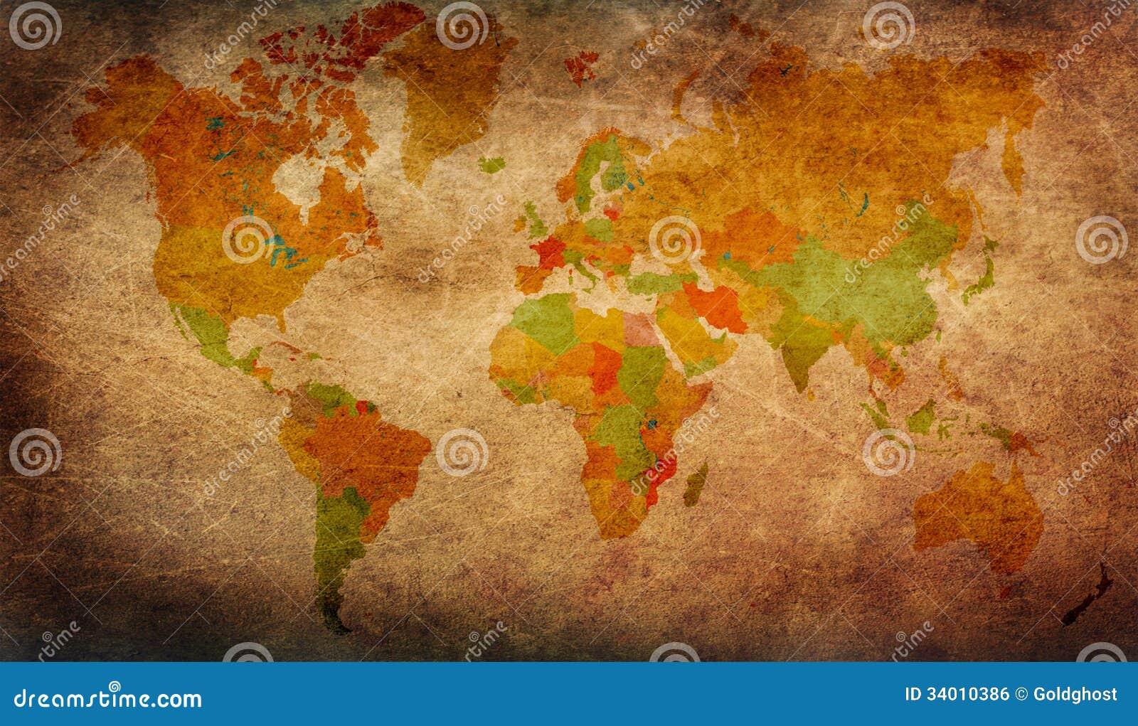 Grunge światowa mapa