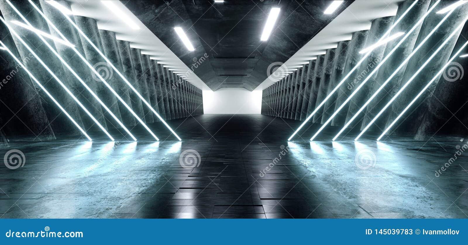 Grunge конкретный длинный Hall Sci Fi отражения лазерных лучей дневного неона