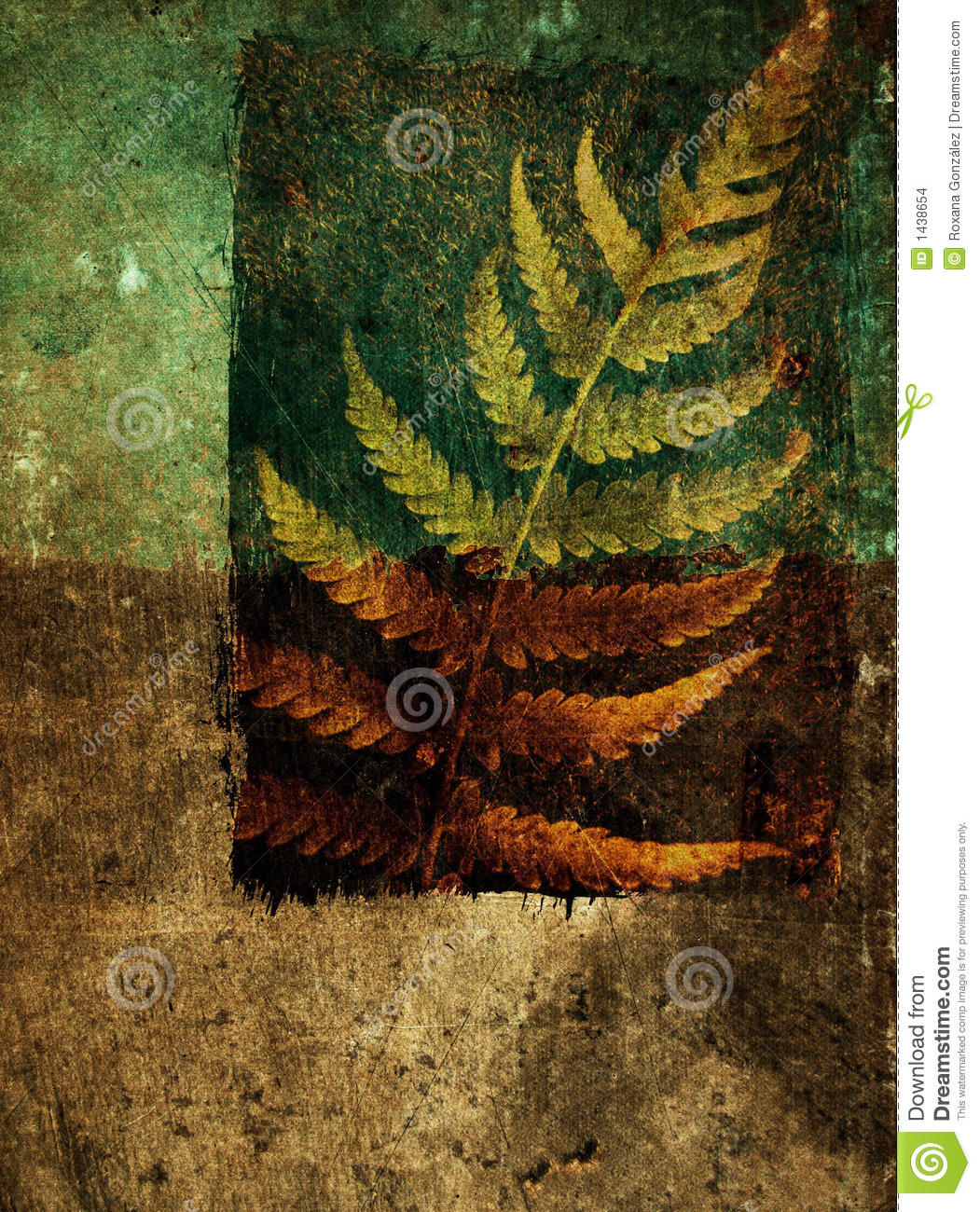 Grunge abstract background with fern leaf