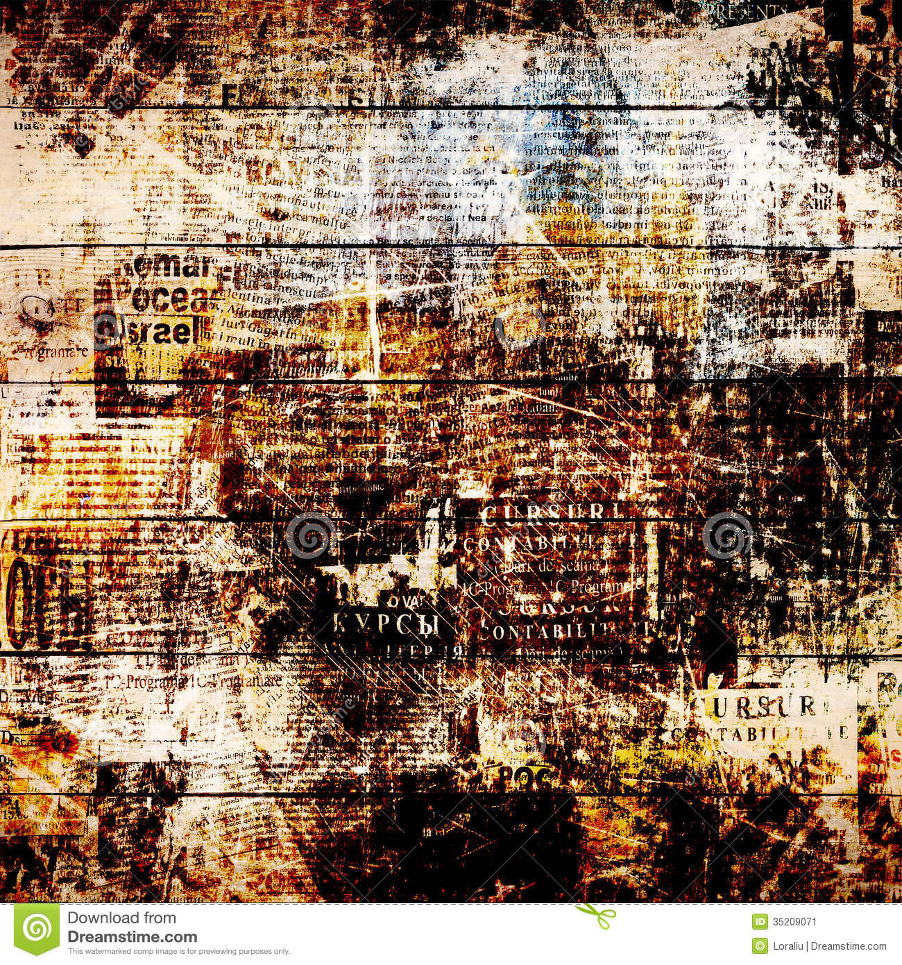 grunge abstract newspaper background for design stock