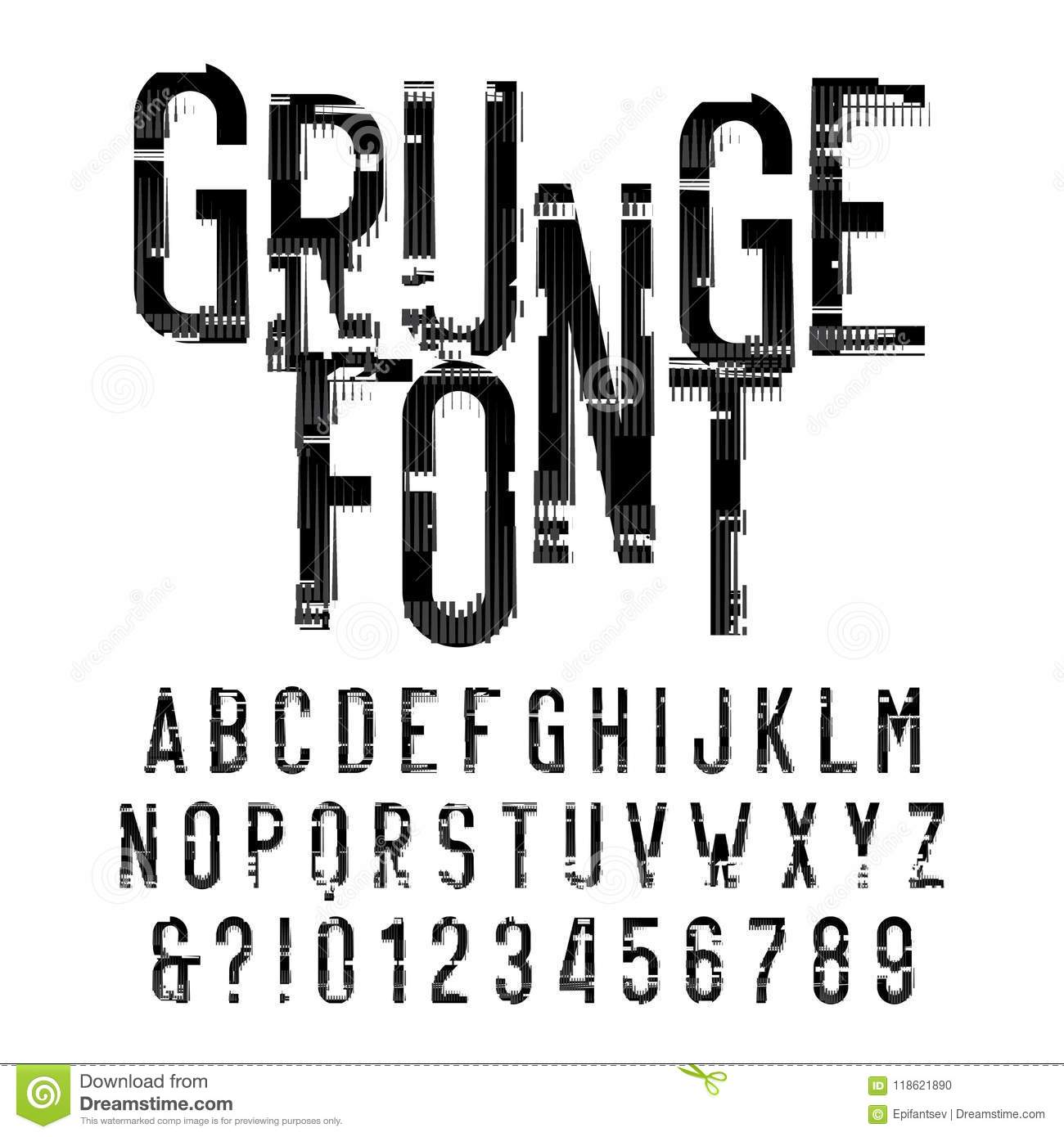 grunge alphabet font distressed type letters and numbers on white