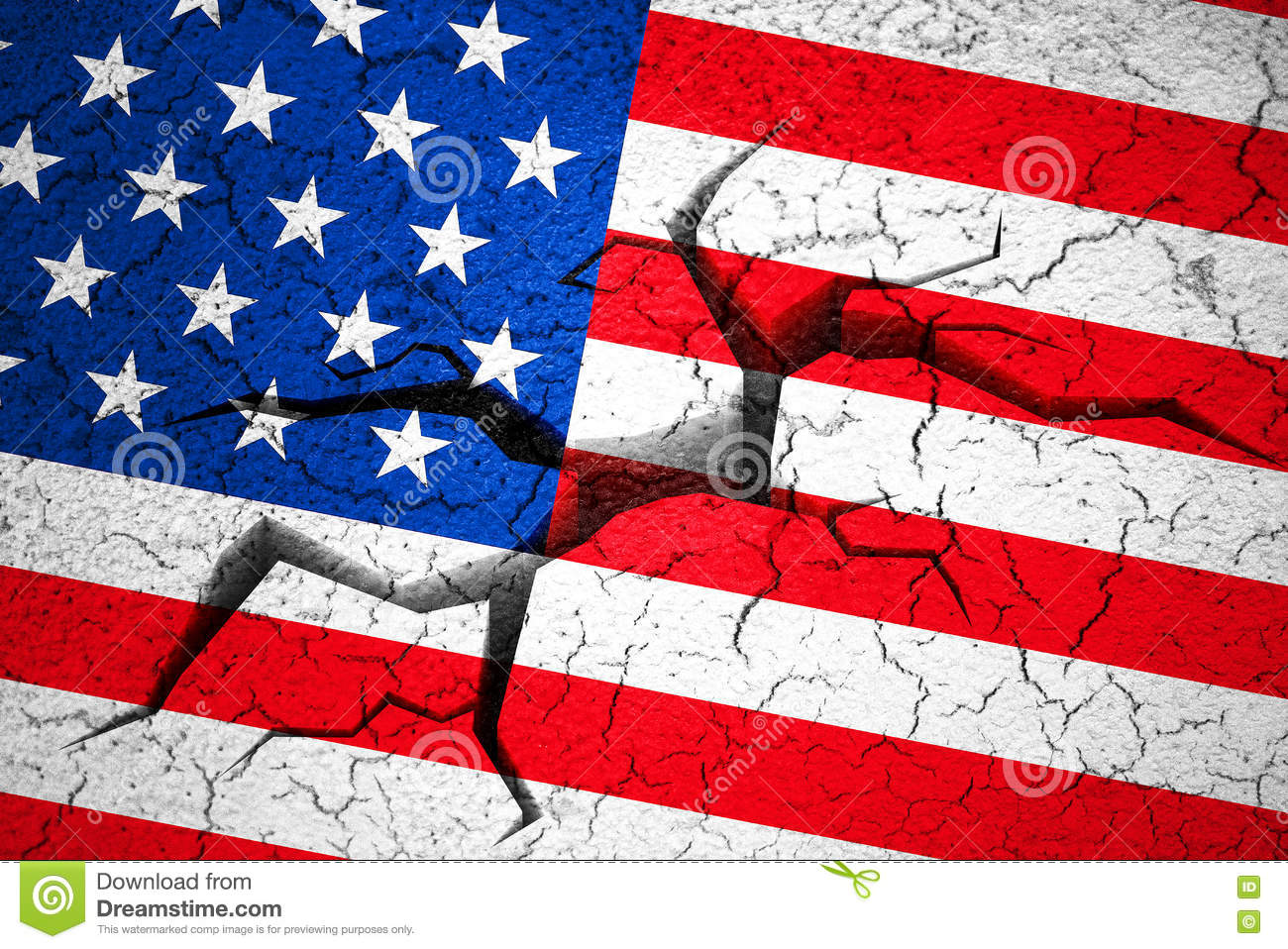 Grunge American USA Flag, Broken Crack Wall With Hole Stock Image ...