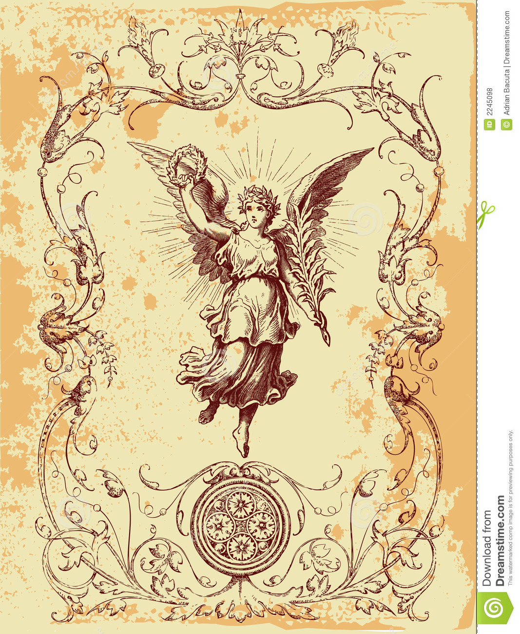Vintage look illustration of angel holding a wreath above her head ...
