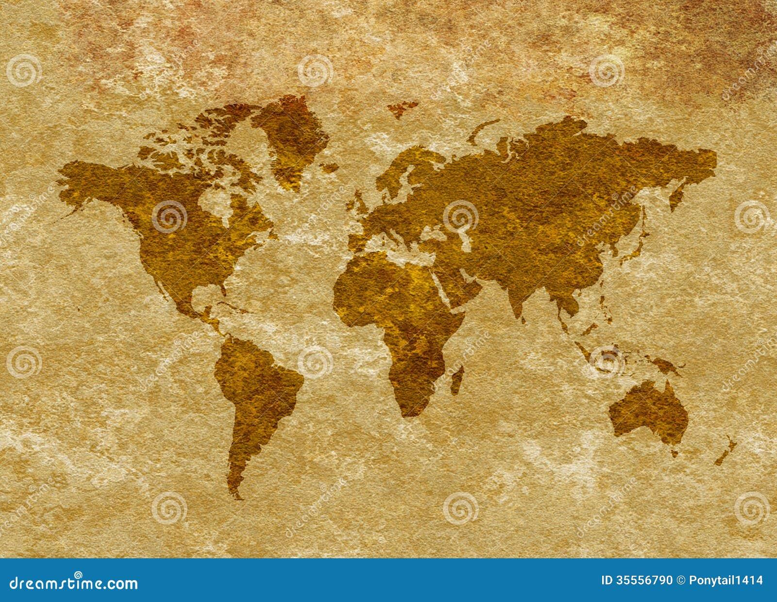 Grunge Antiqued World Map On Parchment Stock Illustration ...