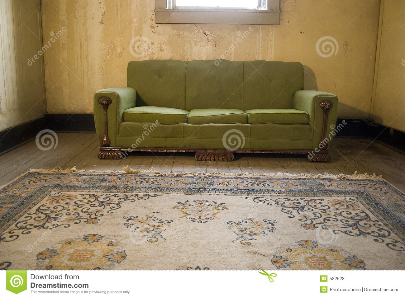 Grunge Apartment Sofa Rug Room Poverty Stock Photo Image