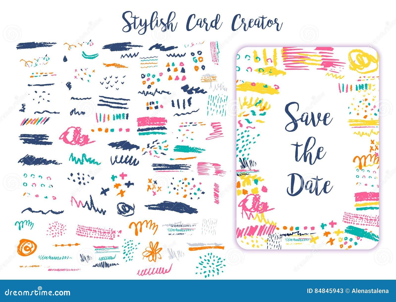 grunge artistic brush strokes set for creation creative design cards