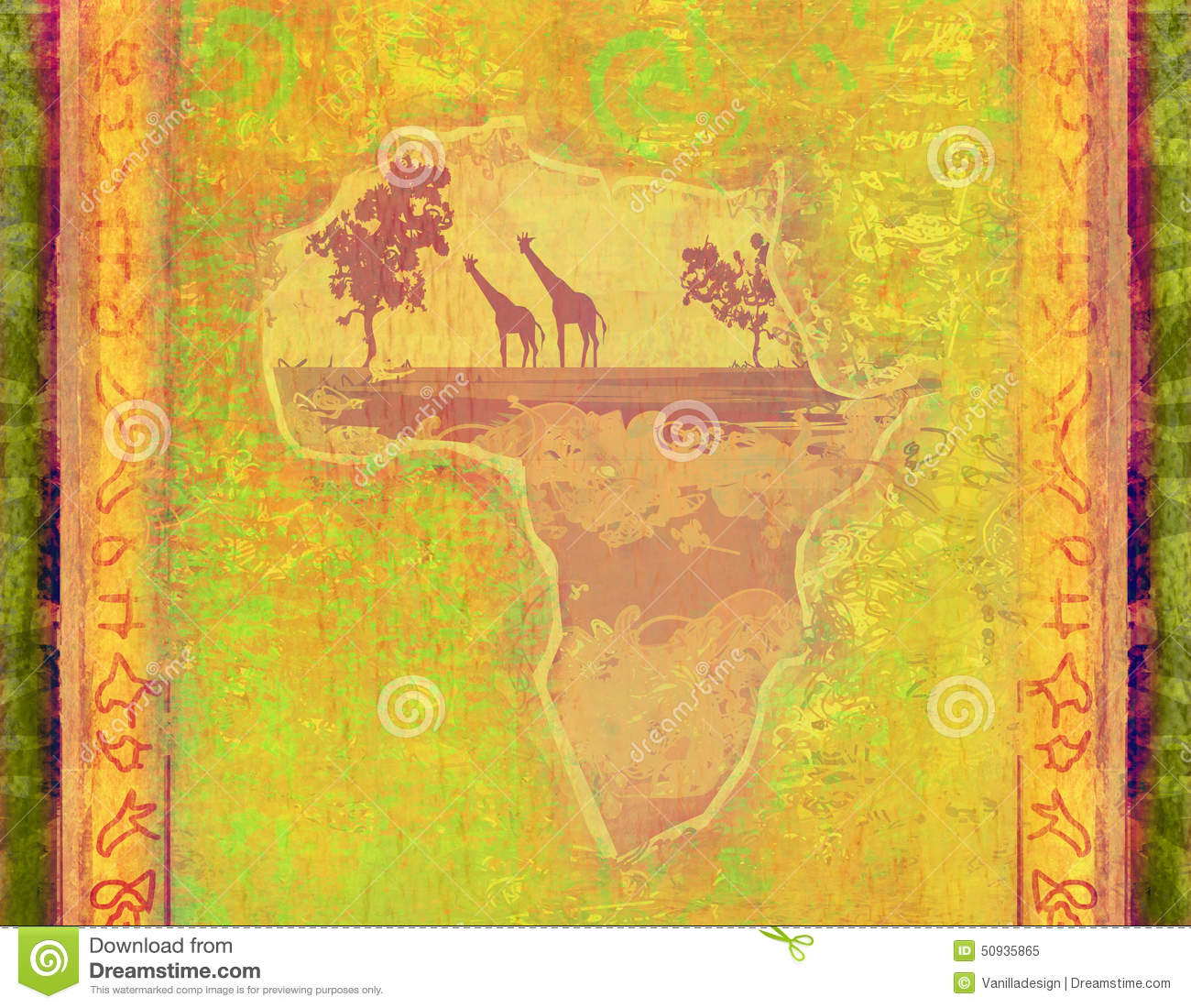 Grunge Background With African Continent Stock