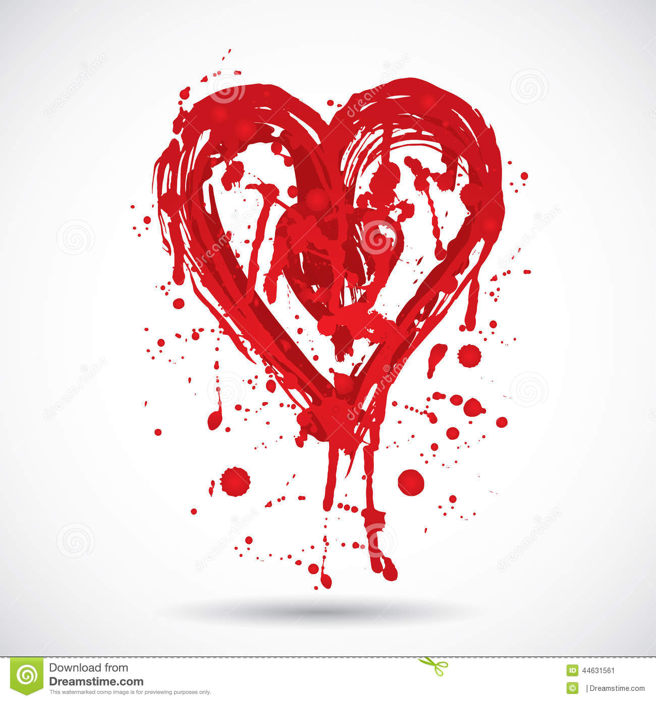 grunge background with bright red heart  paint splash  vector stock vector