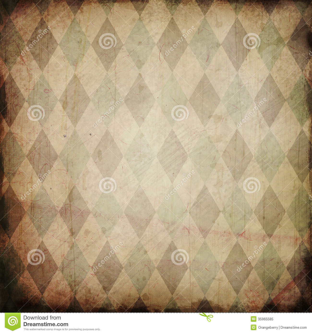Grunge Background With Harlequin Pattern Stock