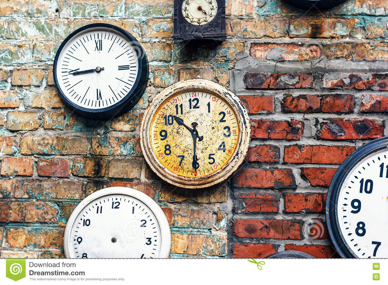 grunge background with old watch time concept retro clocks on the wall old antique clock on. Black Bedroom Furniture Sets. Home Design Ideas
