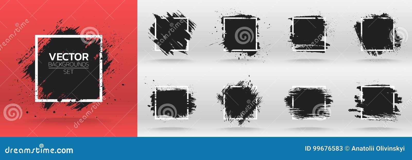 Grunge backgrounds set. Brush black paint ink stroke over square frame.