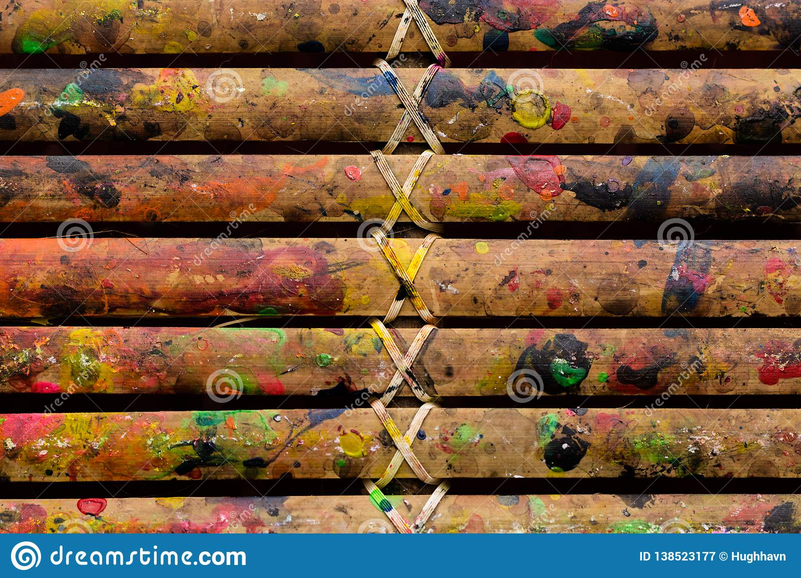 Grunge Bamboo Bars Texture with Colors Spatter for Abstract Background