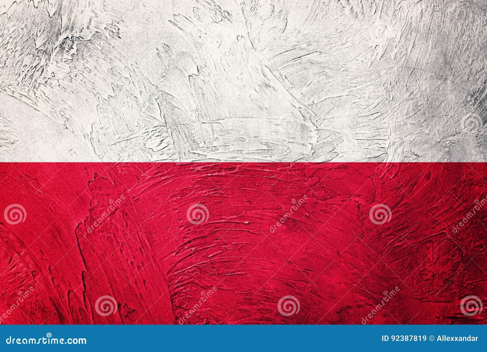 Grunge bandery Poland Polska flaga z grunge teksturą