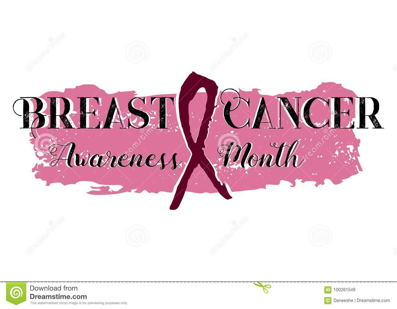 Pink Ribbon Banner From Brushstrokes Stock Vector Illustration