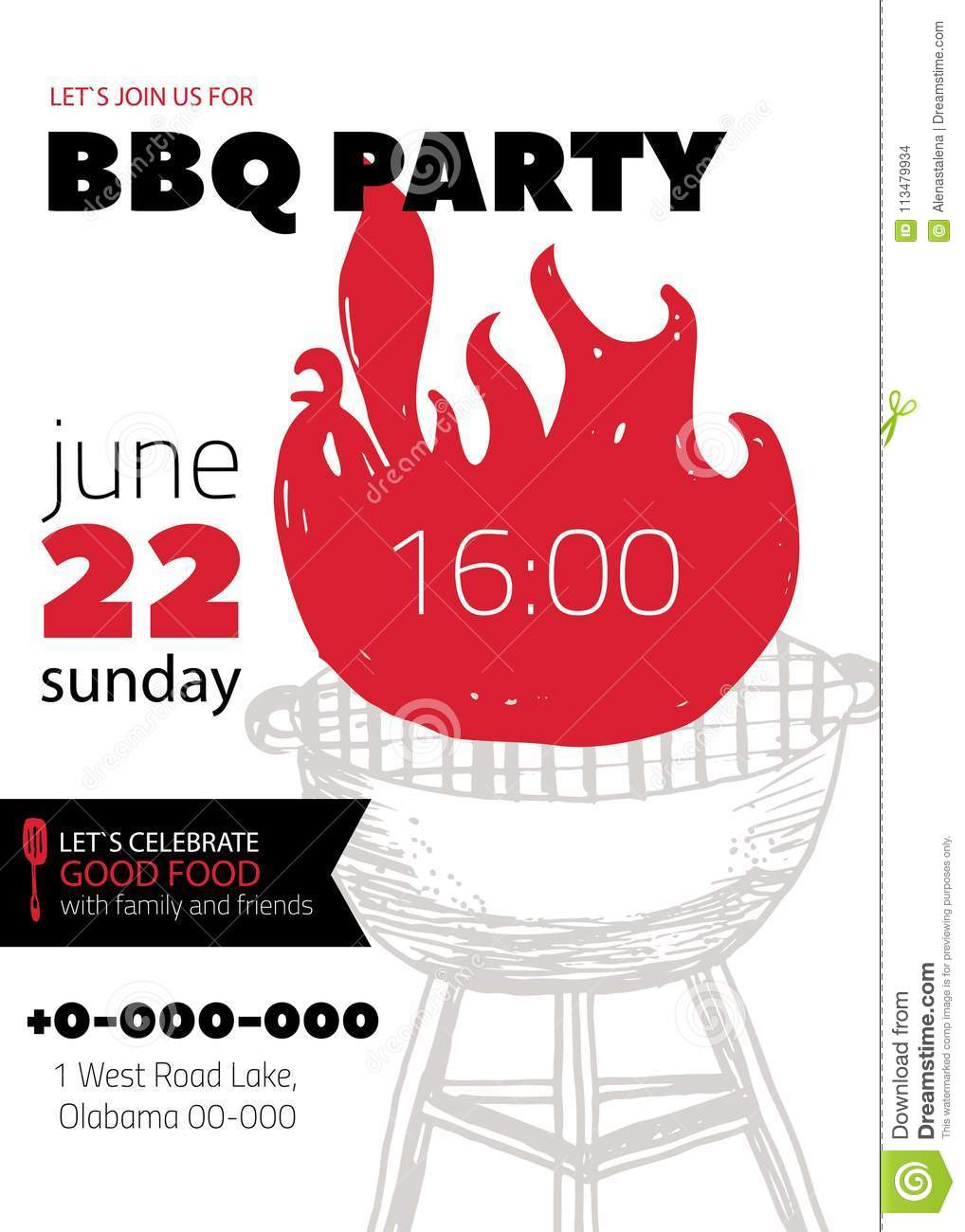 grunge bbq party invitation template for posters flyers barbeque