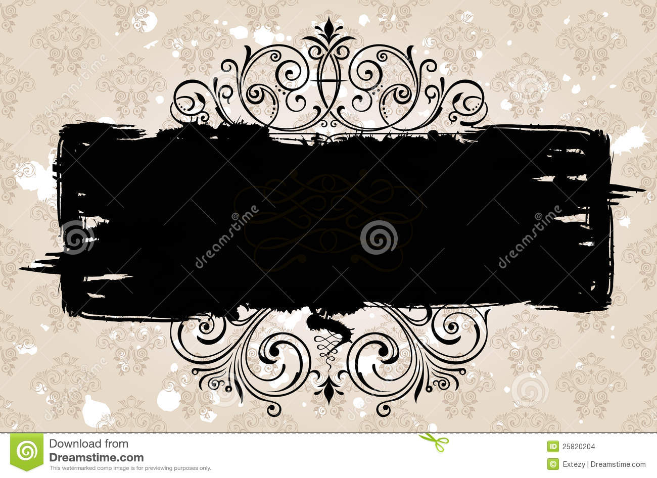 Grunge Black Banner Background. Vintage Patterned Stock Vector ...