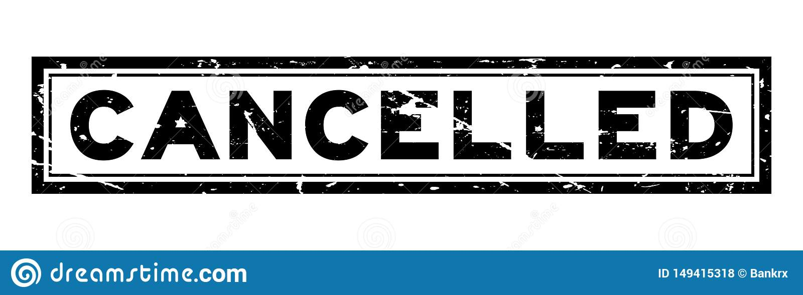 Grunge black cancelled word square rubber stamp on white background