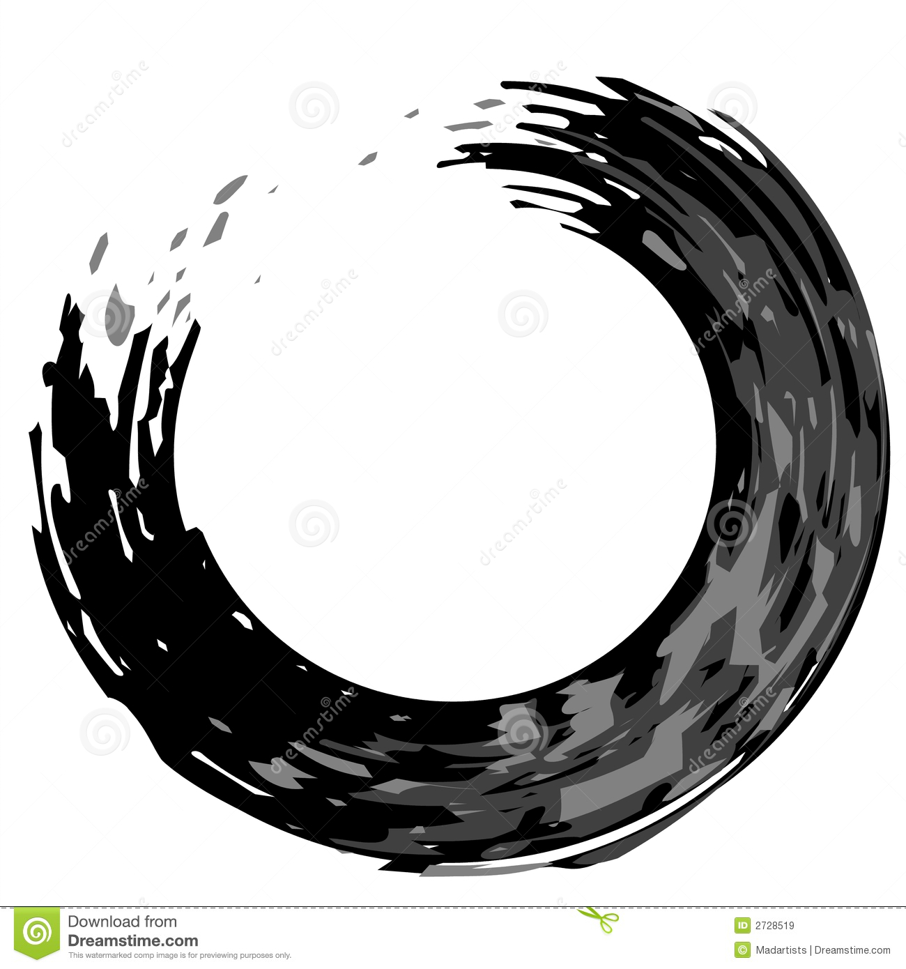 black and white paintbrush enso swirl design in a semi swirl or ...