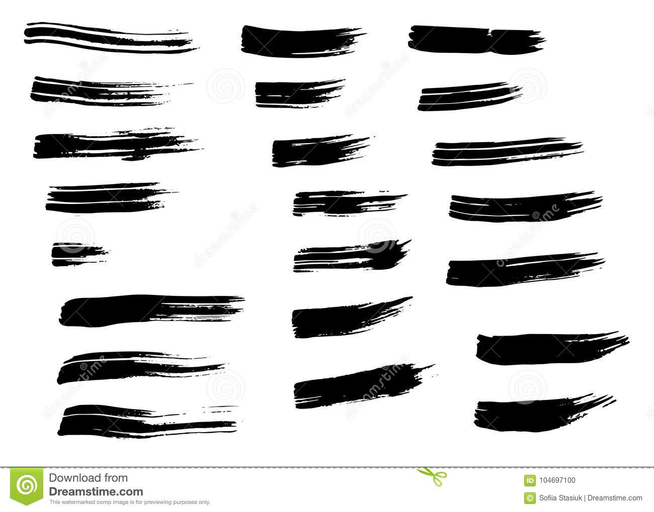Grunge black hand drawn brush strokes isolated. Different dry vector brush strokes