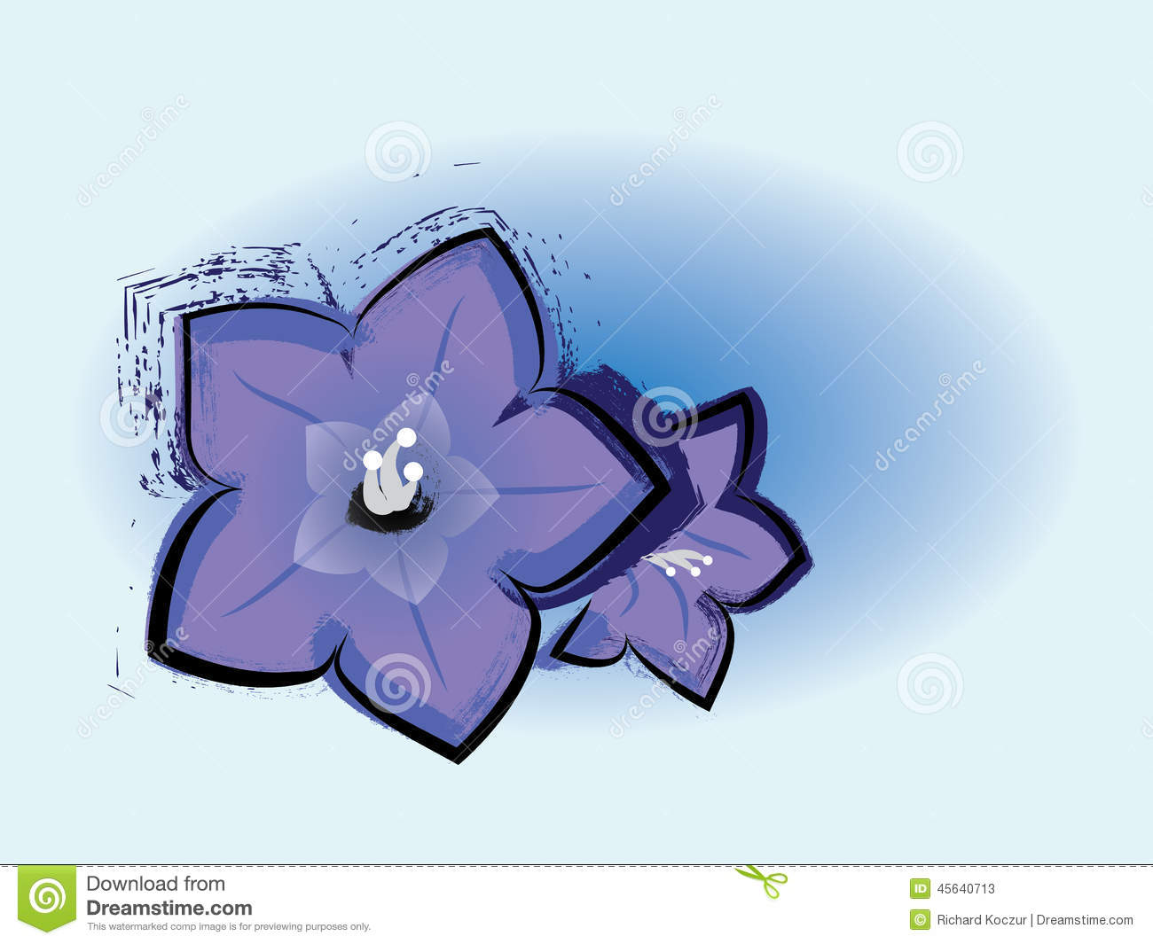 Grunge Bluebell Flowers Drawing