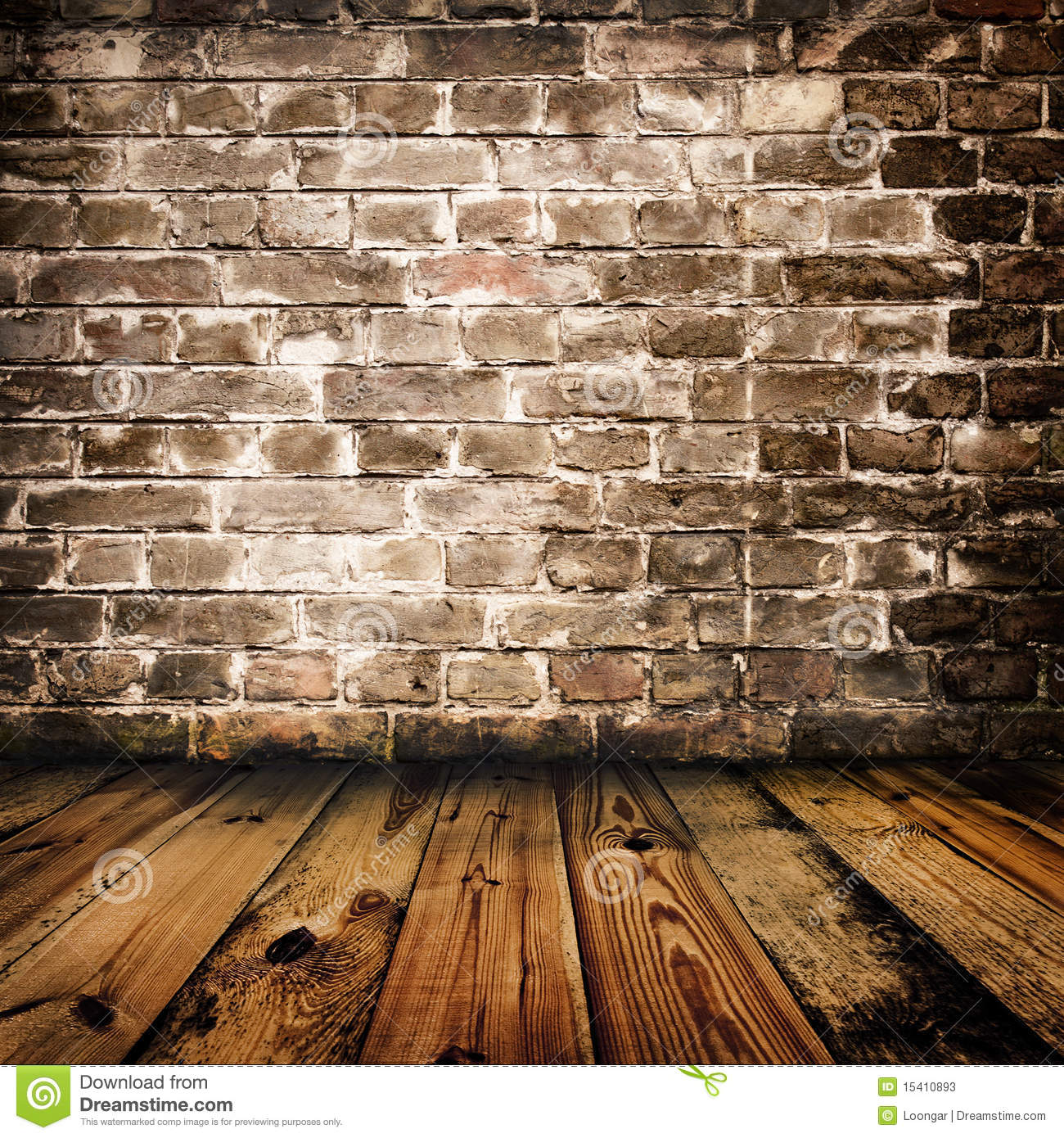 Grunge brick wall and wooden floor stock image image for Floor and wall
