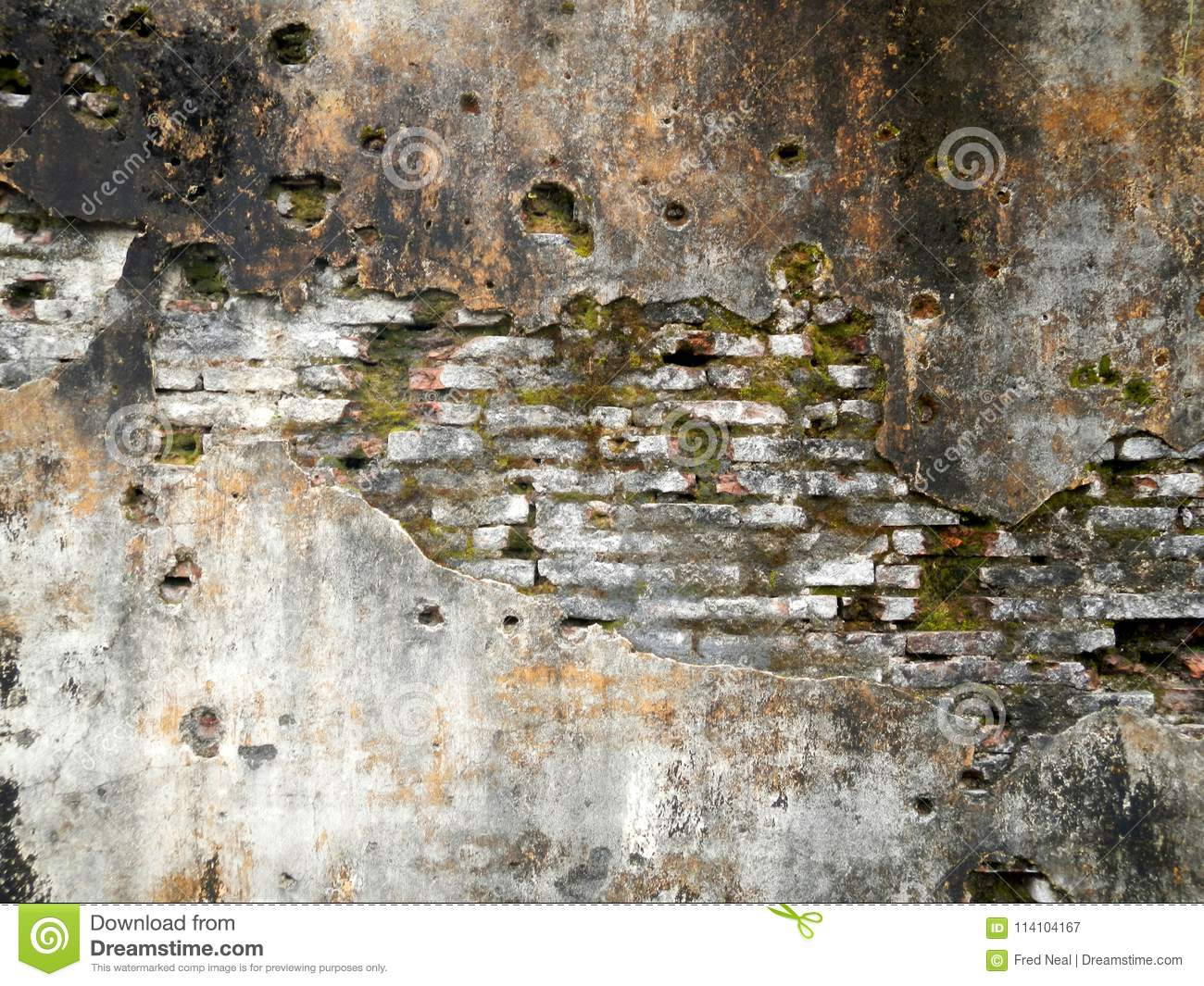 Grunge Brickwork Wall Texture With Moss Render And Bullet
