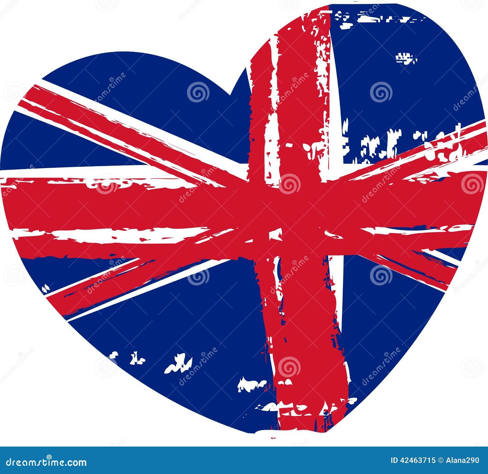 Grunge Britain Flag In Heart Shape Stock Vector Image