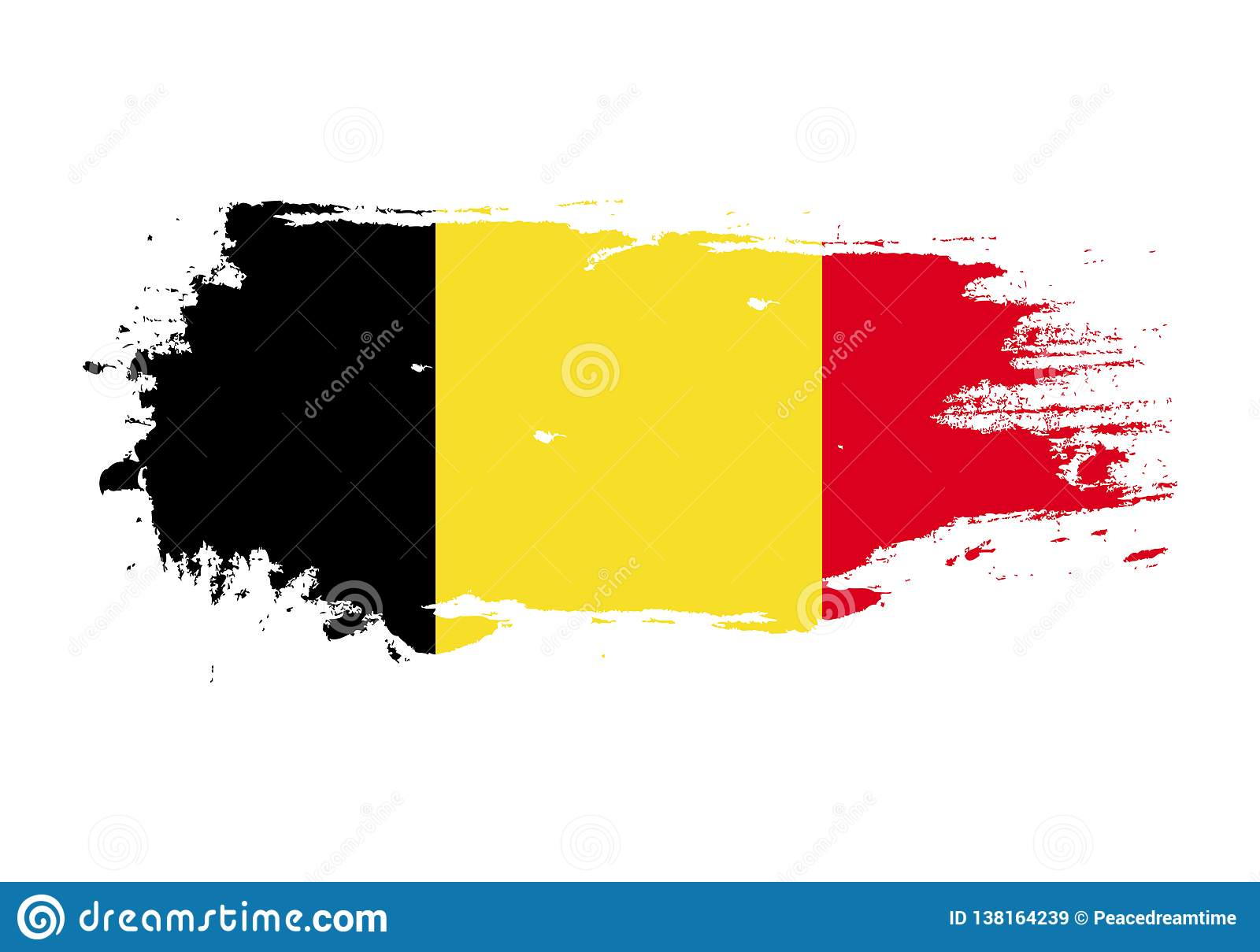Grunge brush stroke with Belgium national flag. Watercolor painting flag. Symbol, poster, banner of the national flag. Vector