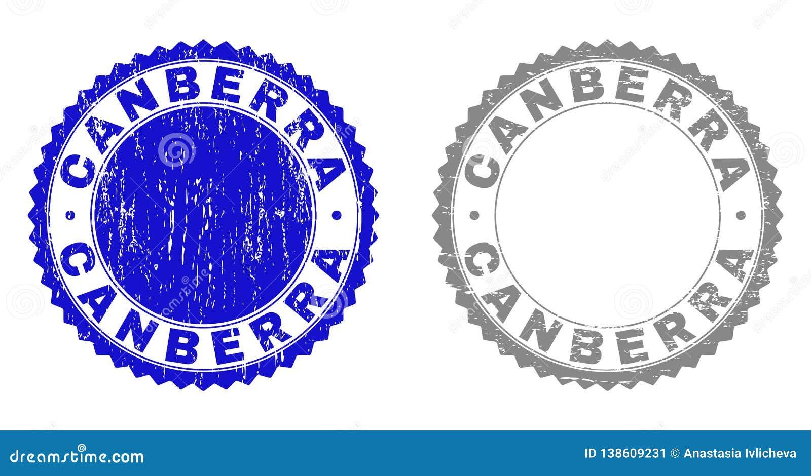 Grunge CANBERRA Scratched Stamp Seals