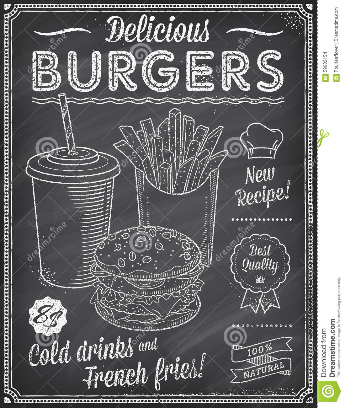 Grunge Chalkboard Fast Food Menu Template 4 Stock