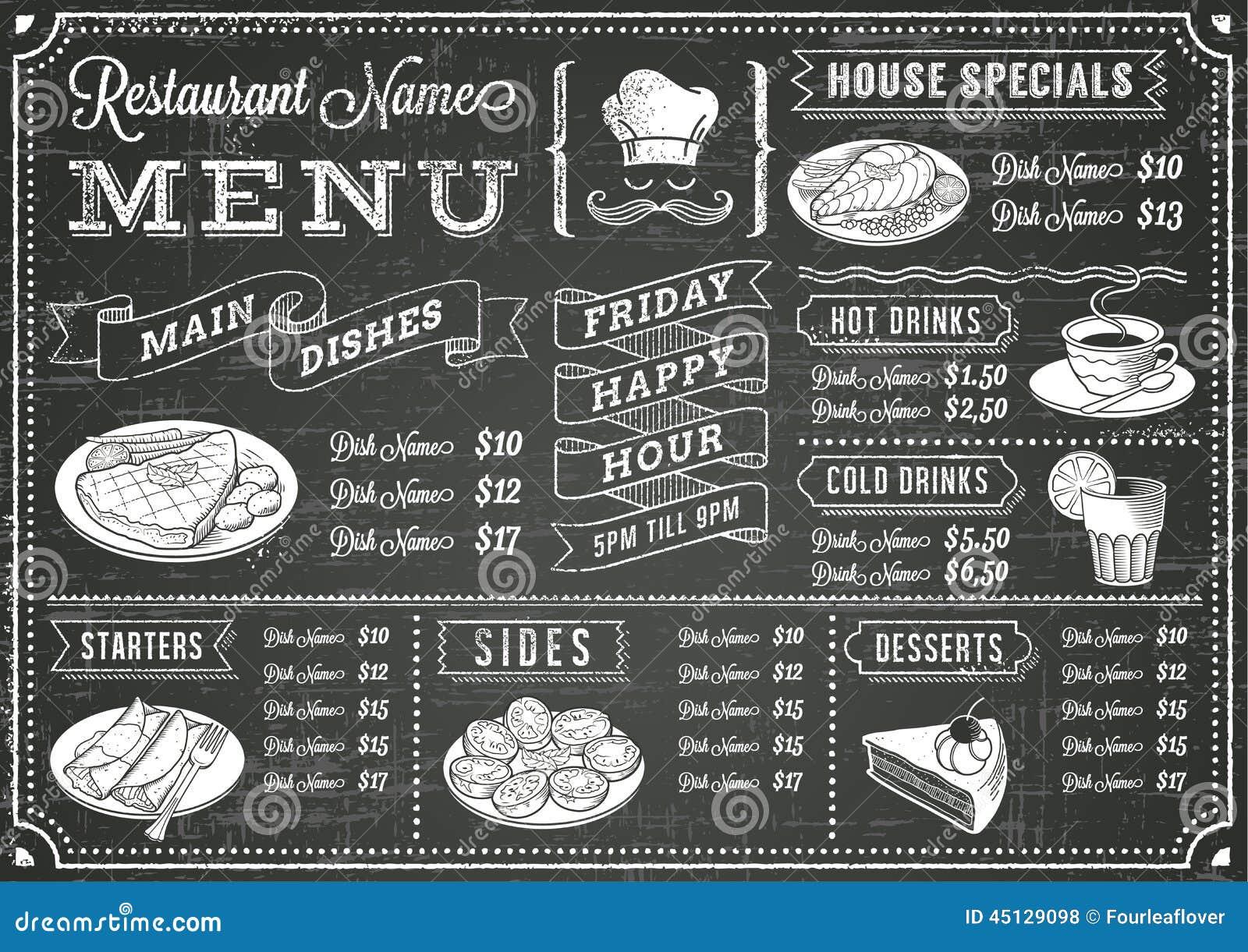 Grunge Chalkboard menu Restauracyjny szablon