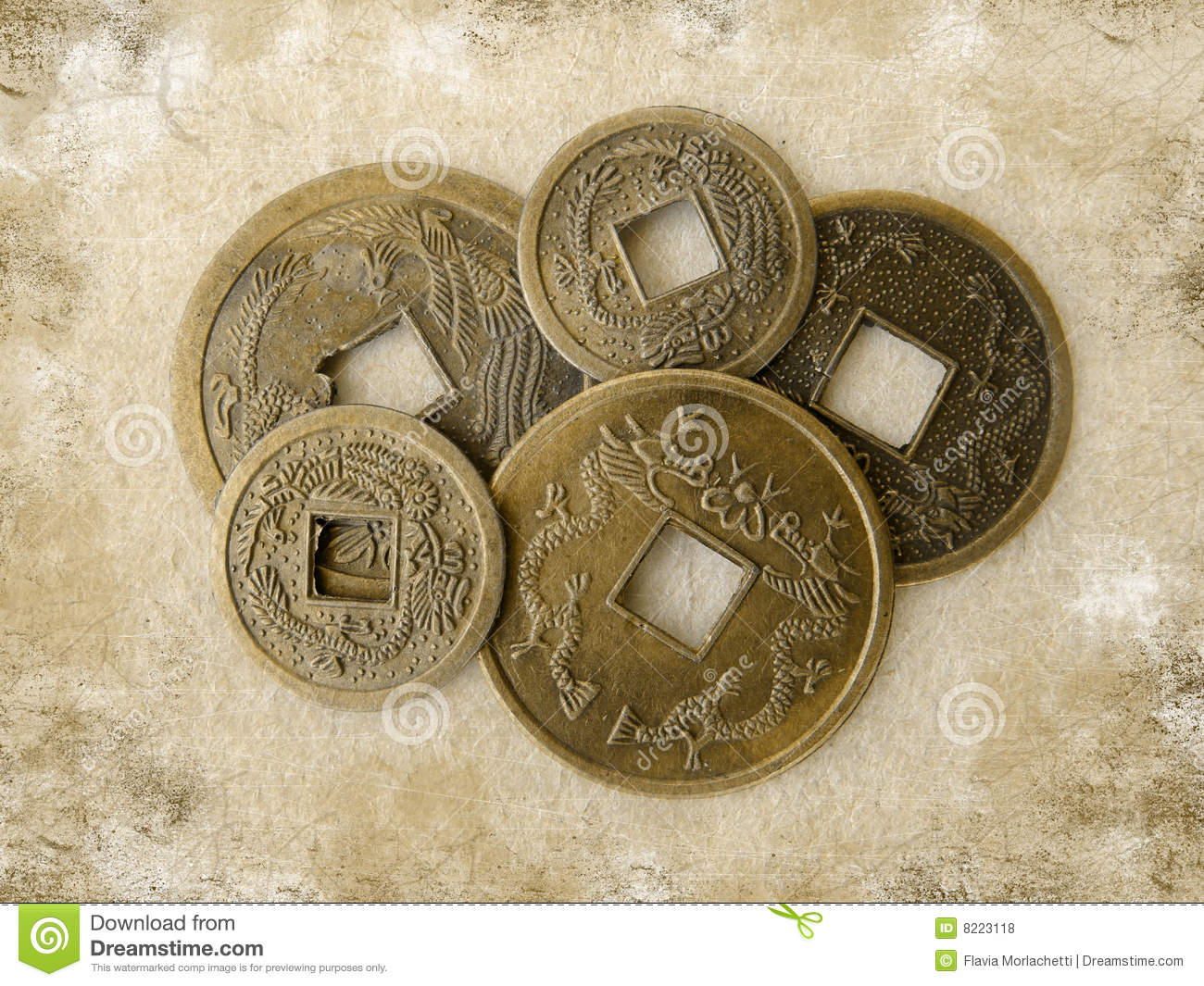 Grunge chinese feng shui coins royalty free stock photos - Feng shui good luck coins ...