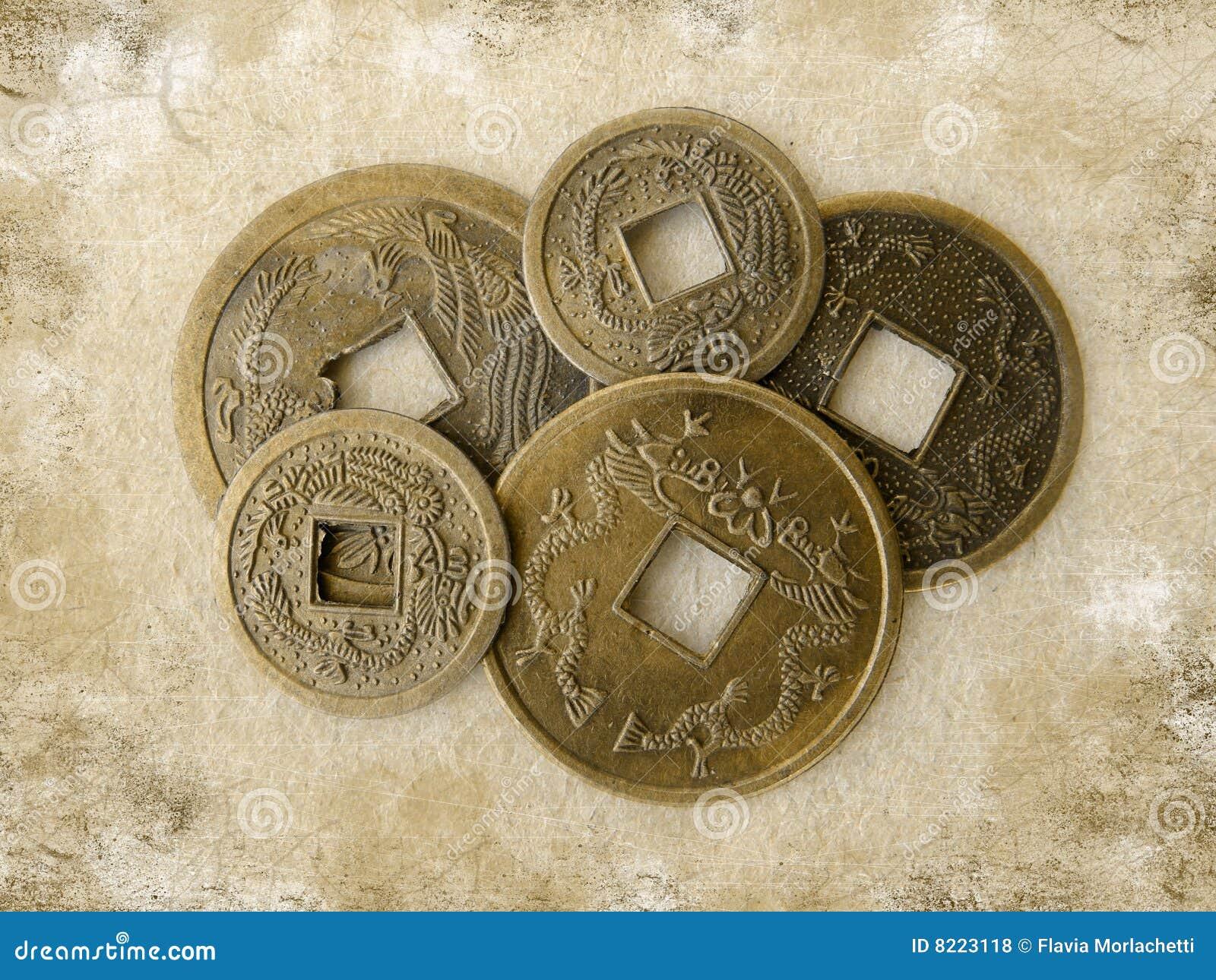 Grunge Chinesische Feng Shui Münzen Stockfoto Bild Von Grungy