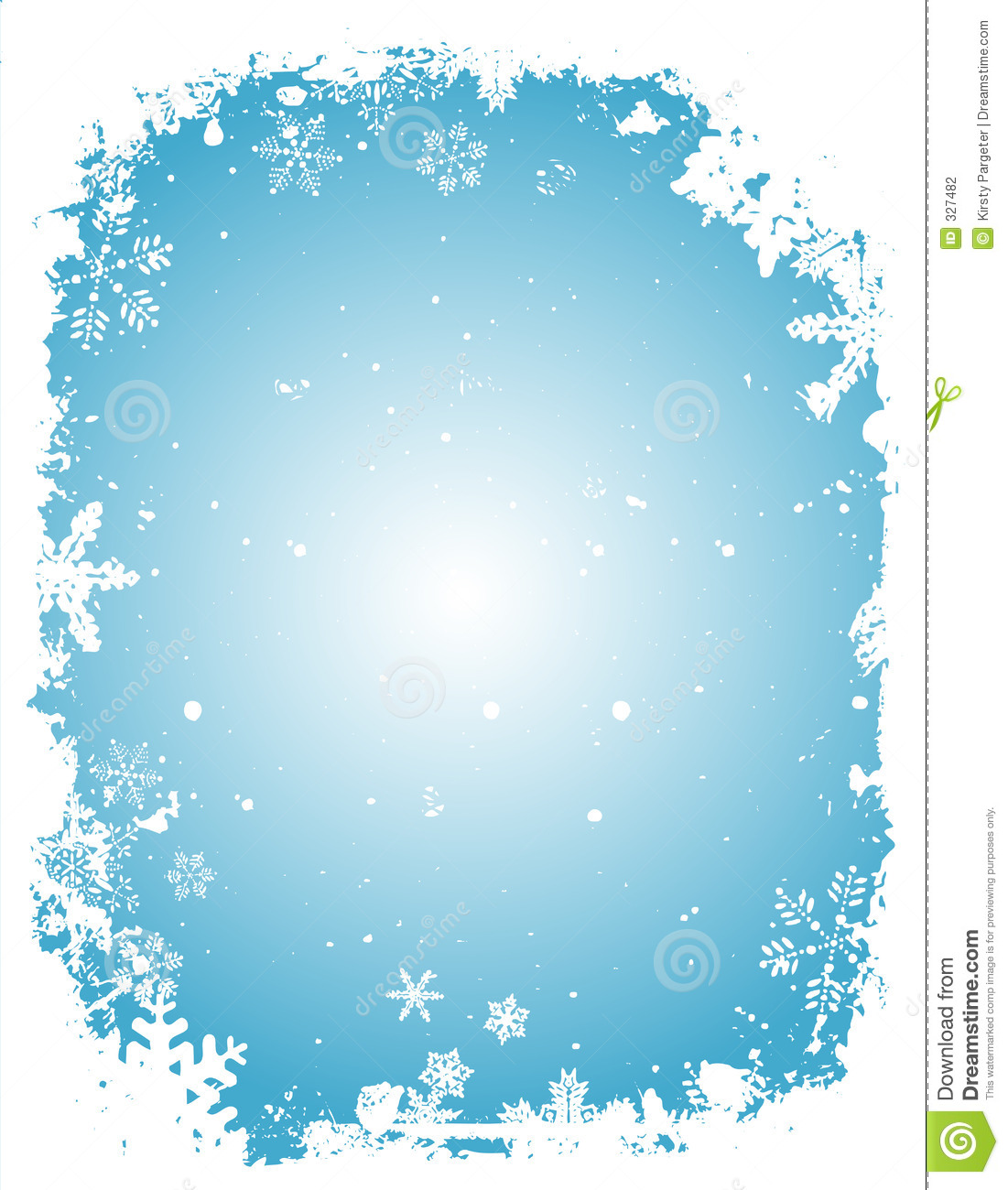 Winter themed background with grungey snowflake border.