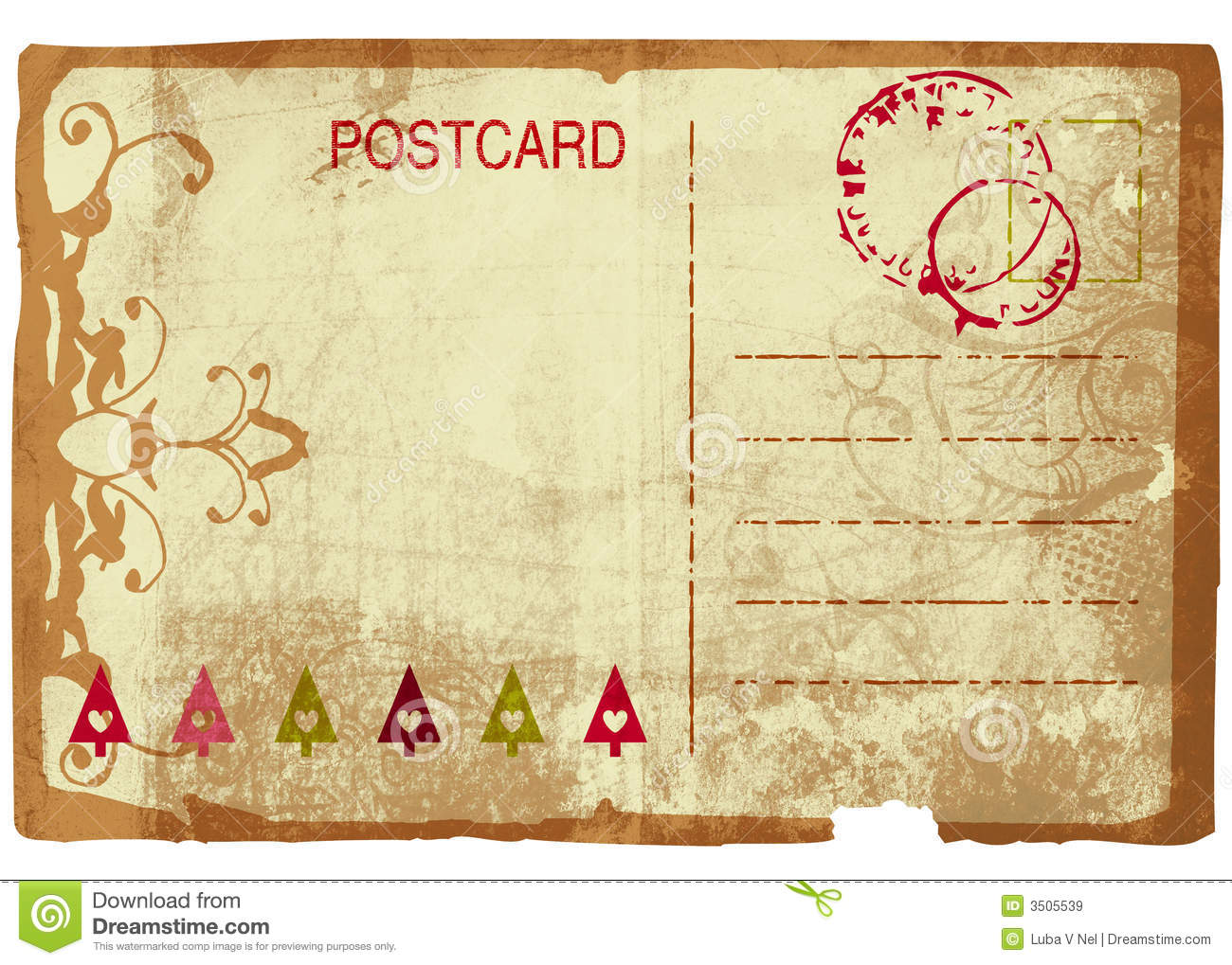 Grunge Christmas Post Card Royalty Free Stock Images - Image: 3505539