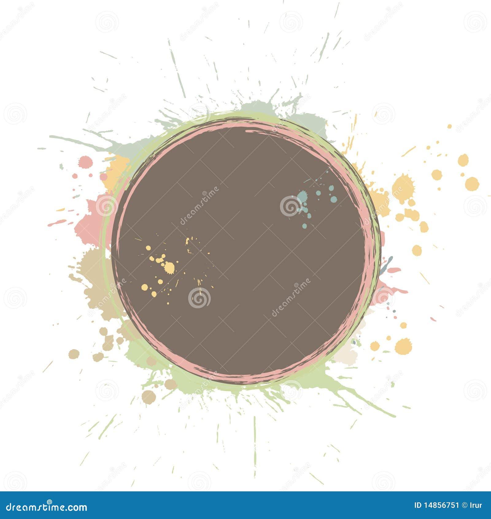 Grunge circle with splashes
