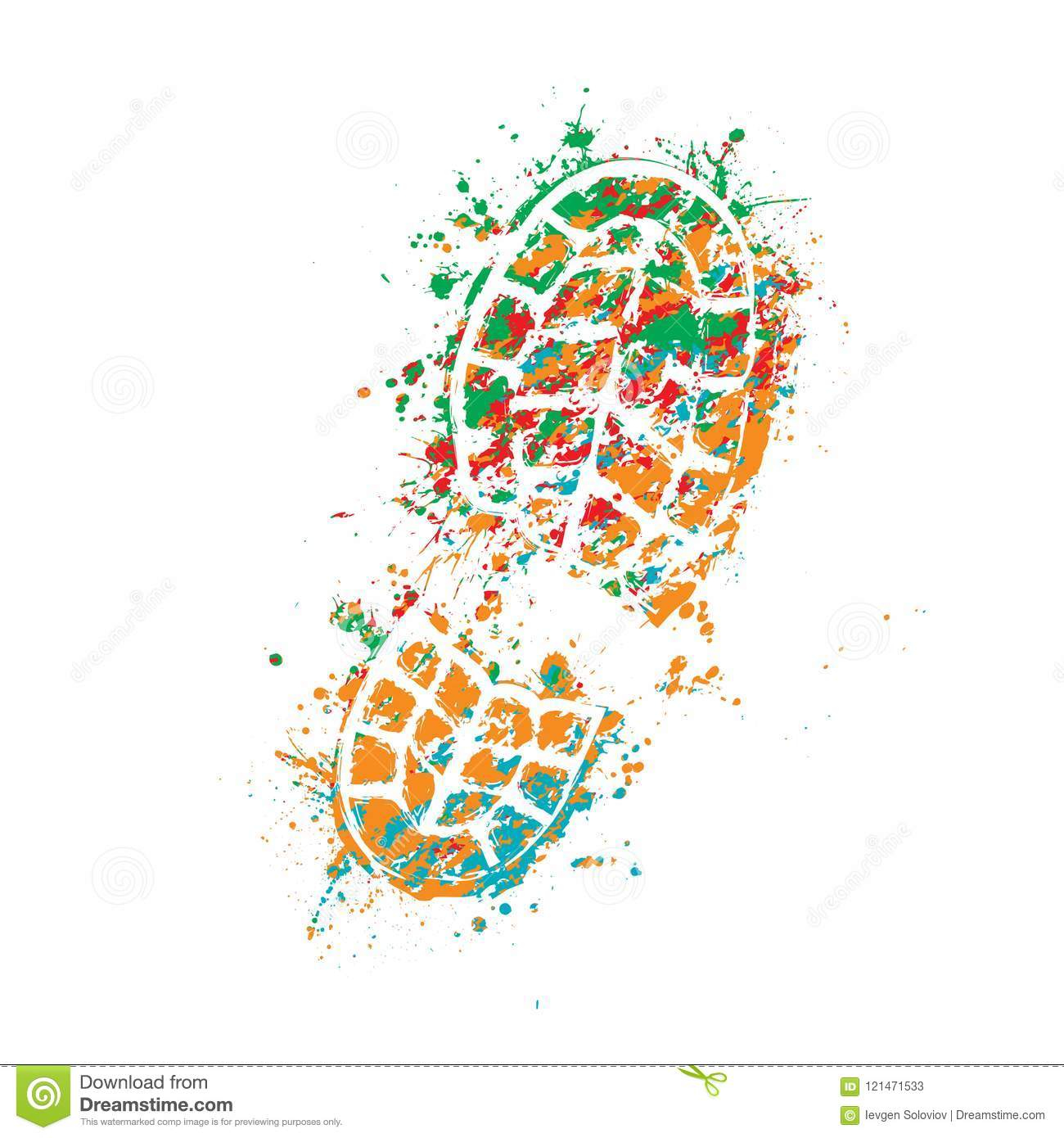 768317b68 Grunge color silhouette of shoe print on white background. More similar  stock illustrations