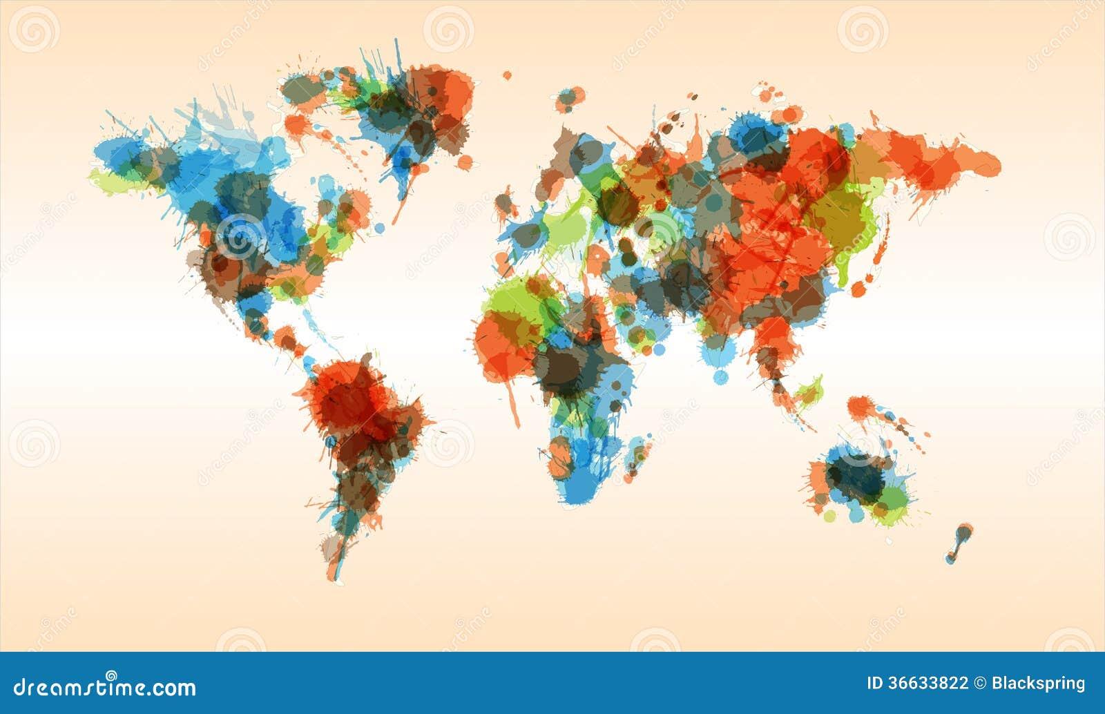 grunge colorful world map stock vector image of retro. Black Bedroom Furniture Sets. Home Design Ideas