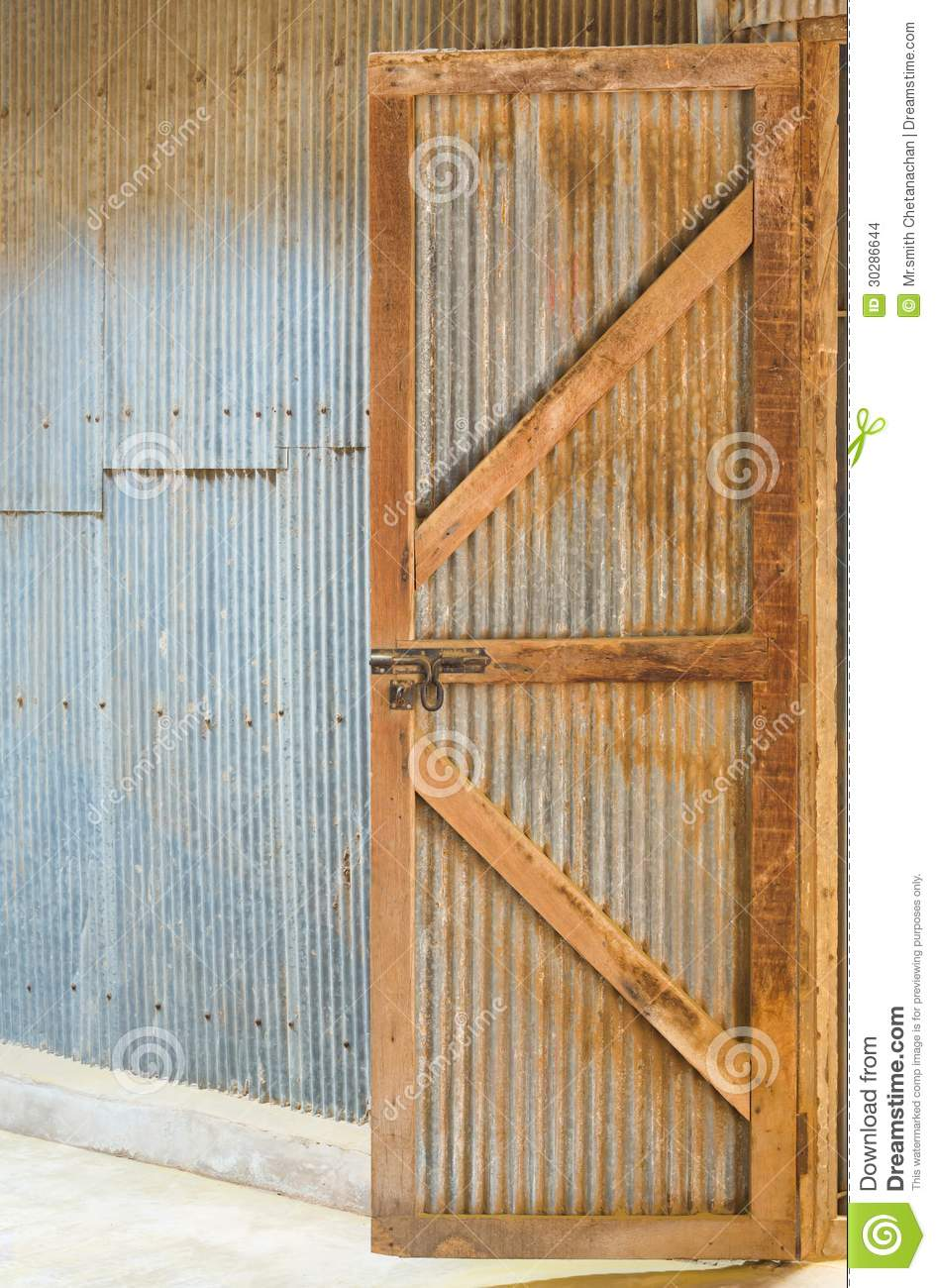 Corrugated Zinc Sheet Wall And Door Stock Images Image