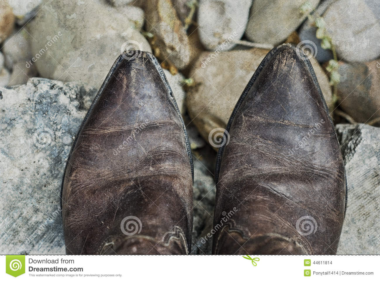 Grunge Cowboy Boots Stock Photo - Image: 44611814