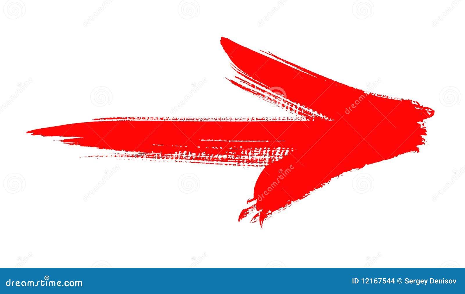Grunge czerwona strzała